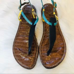 Sam Edelman Gigi Sandals Size 10 Navy and Yellow